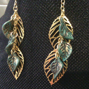Gold and Green Leaves Earrings - The Beauty of an Autumn Leaf
