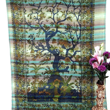 Tree of life Tapestry, Dorm decor Mandala Tapestry Wall Hanging, Indian Bedspread Bohemian Room Décor, Dorm Bedding Tapestry Art