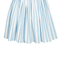 Chambray Striped Skirt - Blue Multi