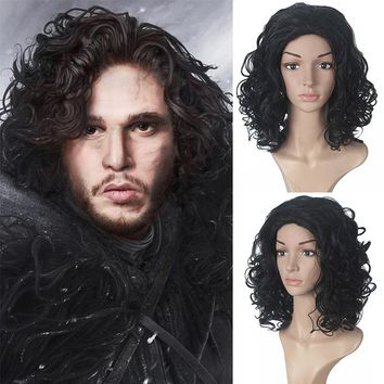 Game of Thrones Jon Snow Male Black Wig Cosplay Adult Role Play Fancy Halloween Costume Synthetic Short Curly Wigs