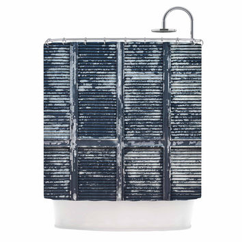 "Susan Sanders ""Rustic Blue Shutters"" Nautical White Shower Curtain"