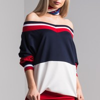 AKIRA Long Sleeve Off Shoulder Stripe Mini Dress in Red White Blue