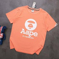AAPE BAPE Summer Fashion Casual Print Round Collar T-Shirt Top Blouse Orange