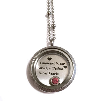 a moment in our arms, a lifetime in our hearts locket, passing of a child locket, miscarriage necklace, stainless steel waterproof locket