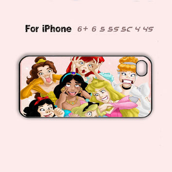 Cute Disney Princess Funny Face Phone Case iPhone7 7S 7 7Splus iPhone 4 4s 5 5s 5c 6 Plus + Cover-5 Colors Available