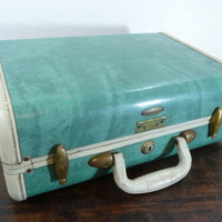 Vintage Small Bermuda Green Turquoise Marbled Samsonite Luggage, Rectangular Suitcase, Home Decor