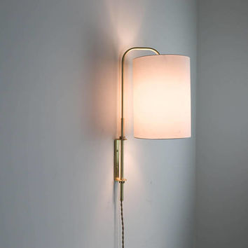 Essie - Brass and Linen Swing Arm sconce