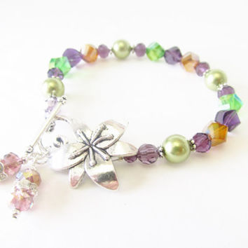 7.25 Inch Crystal Flower Bracelet - Green , Orange , Purple - Beaded Glass Pearl Bracelet - Silver Toggle Clasp Bracelet - Handmade Jewelry