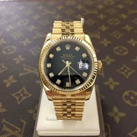 Rolex Oyster Perpetual 116238 36mm Black Dial w/Diamonds Gold Men's Wrist Watch