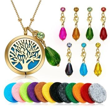 """Aromatherapy Essential Oil Diffuser Pendant Locket Necklace, 24"""""""