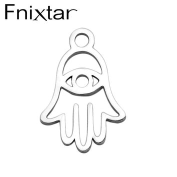 Fnixtar Stainless Steel Hollow Buddha Hand Charm Pendants Fit Bracelets Necklace DIY Metal Jewelry Making 20Piece/Lot