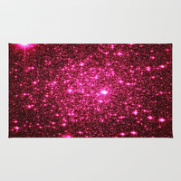 Hot Pink Astral Glitter Area & Throw Rug by 2sweet4words Designs