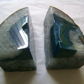 Brazilian Quartz Druzy Agate Specimen Amazing Dark Blue Teal Polished Rock Set of 2 Bookends HUGE 119.9 OZ Perfect Library Office Home Decor