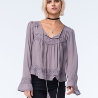 BLU PEPPER Womens Bell Sleeve Lace Top | Blouses