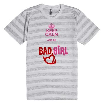 Keep calm and be a bad girl, devil's heart, naughty woman tee shirt design | T-Shirt | SKREENED