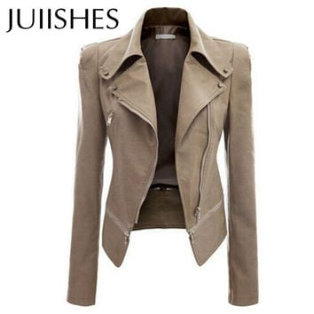 Women's PU Leather Jacket 2016 New Autumn Clothing Outerwear Jaquetas Feminina Slim Coats S-3XL Plus Size Coats & Jackets Casaco