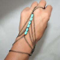 Slave bracelet,bracelet ring, ring bracelet, slave ring  adjustable, with oval turquoise   (m1b)