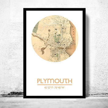 PLYMOUTH MA - city poster - city map poster print