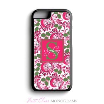 Pink & Green Floral Personalized Monogram Phone Case