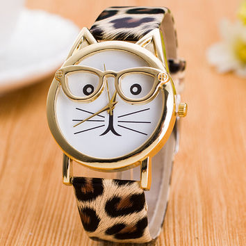 Meow - Glasses Cat - Unique Watch - Fashion Women Faux Leather Band Watches + Gift Box