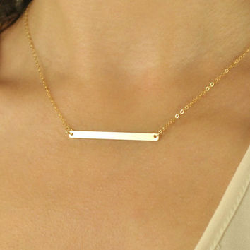 Skinny Gold Bar Necklace,Simple bar necklace, long bar necklace, gold necklace layered, 14K Gold Necklace, thin bar necklace,//N-131