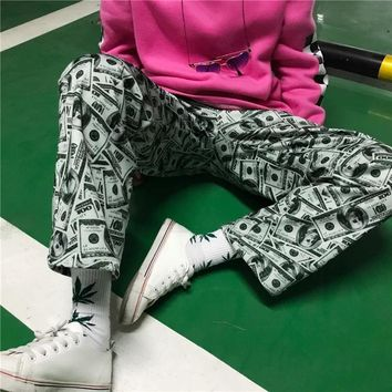 """Supreme"" Unisex Retro Fashion Personality Dollar Sweatpants Couple Leisure Pants Trousers"