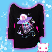Conspiracy Cutie Alien Kitty Graphic 3/4 Sleeve Sweatshirt Kawaii Fairy Kei Pastel Goth