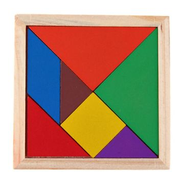 Baby Wooden Tangram Jigsaw Puzzle Toy Montessori Geometric Shape Wooden Board DIY Kids Childhood Early Education Toy Gift