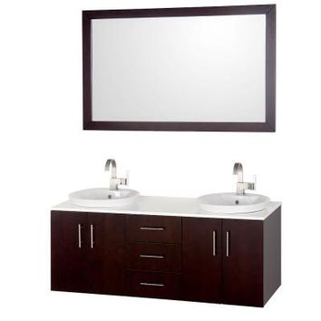 Wyndham Collection Arrano 55 in. Vanity in Espresso with Glass Vanity Top in White and Mirror-WCSB40055ESWH - The Home Depot