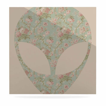 "Alias ""Floral Alien"" Pink Teal Luxe Square Panel"