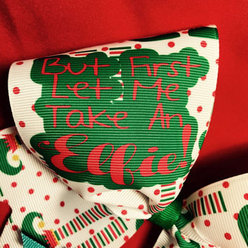 Elfie cheer bow, Christmas cheer bow, cheer bow cheap, holiday hair bow, sublimated bow, cheer bows with sayings