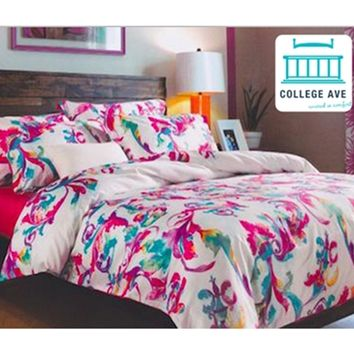 Designer Pink and Blue Artistry College Dorm Bedding Twin XL Comforter