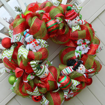 Christmas Wreath - Snowman Wreath Red and Green Striped Deco Mesh -  Holiday Wreath