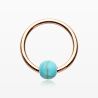 Rose Gold Turquoise Stone Ball Captive Bead Ring