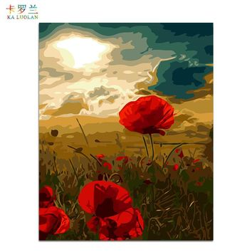 Frameless wall picture painting by numbers canvas painting home decor paint by number Poppies unique gift paint by numbers 1099