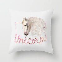 Pink Unicorn Throw Pillow by dogooder | Society6
