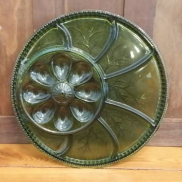 Vintage Green Indiana Glass Co Divided Dish Deviled Egg Hors D' Oeuvre Tray In Original Box