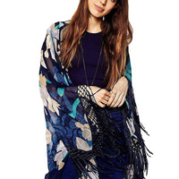 Blue Floral Kimono with Fringing
