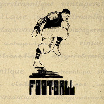 Antique Football Digital Graphic Printable Download Sports Image Vintage Clip Art Jpg Png Eps 18x18 HQ 300dpi No.4066