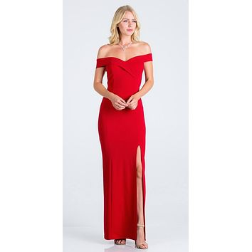Red Off-the-Shoulder Long Formal Dress with Slit
