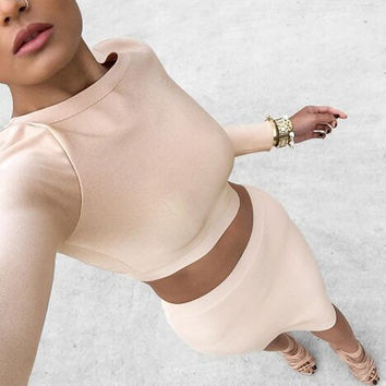 CUTE TWO PIECE PURE COLOR CUTE DRESS