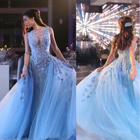 Fashion Light Sky Blue O Neck Appliqued Beaded Sleeveless A Line Prom Dresses with Overskirt