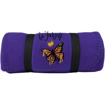 "Inspiring Butterfly Fleece Blanket - ""Be Yourself"""