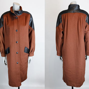 Vintage 70s Coat / 1970s Avant Garde Rust Wool Funnel Neck Coat with Black Leather Trim M L
