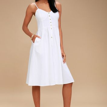 Eve White Button-Up Midi Dress