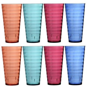 Splash 28-ounce Premium Quality Plastic Cup Tumblers | Set of 8 in 4 Assorted Colors