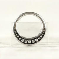 Septum Ring Nose Ring Moon Dots Body Jewelry Sterling Silver Bohemian Fashion Indian Style 14g 16g - SE026R SS