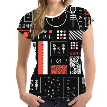 Fashion 3D Twenty One Pilots Printing T Shirt for Women Harajuku Style Top Tees Female O Neck Short Sleeved T-shirt Blusa