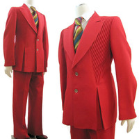 Vintage 70s Suit Mens Red 3 Piece Lansky Rock n Roll Pleated Custom 42