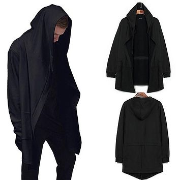 suprem Men Long hooded cloak Sweasuit Gothic punk Mantle xl xxl 3xl Black Gown Sudaderas Hombre Hip Hop Hoody Sweatshirt Coat